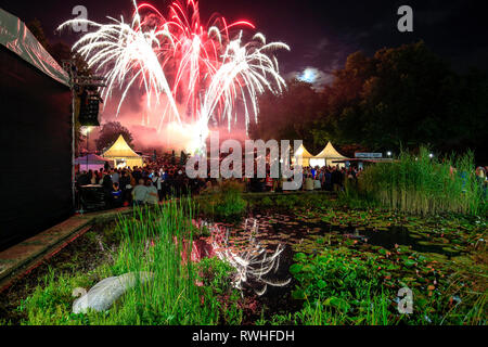 Essen, North Rhine-Westphalia, Ruhr area, Germany - Park festival in the Grugapark, here on the occasion of the Essen 2017 Green Capital of Europe.  E - Stock Photo