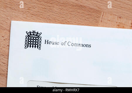 A letter from the House of Commons. - Stock Photo
