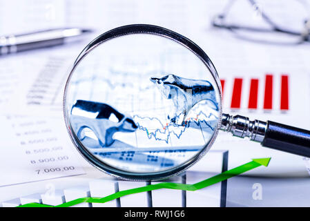Bull and bear with tables, charts and a magnifying glass - Stock Photo