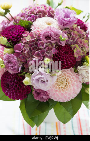botany, bunch with Dahlen and hydrangea blos, Caution! For Greetingcard-Use / Postcard-Use In German Speaking Countries Certain Restrictions May Apply - Stock Photo