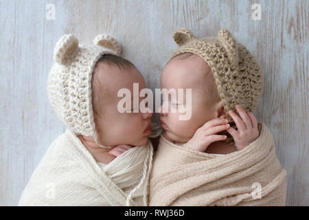 Profile headshot of two, fraternal, twin, baby girls sleeping. They are wearing crocheted bear hats and are swaddled in cream and tan wraps. - Stock Photo