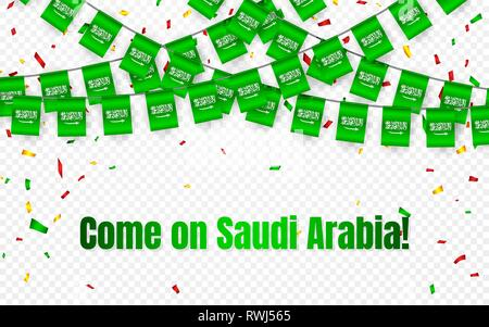 Saudi Arabia garland flag with confetti on transparent background, Hang bunting for celebration template banner, Vector illustration. - Stock Photo