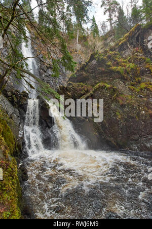PLODDA FALLS TOMICH HIGHLAND SCOTLAND FROM THE PLATFORM TO THE LOWER FALLS BELOW - Stock Photo