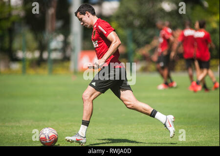 SÃO PAULO, SP - 06.03.2019: TREINO DO SPFC - Pablo during training at São Paulo Futebol Clube held at CCT Barra Funda, in the West Zone of São Paulo. (Photo: Maurício Rummens/Fotoarena) - Stock Photo