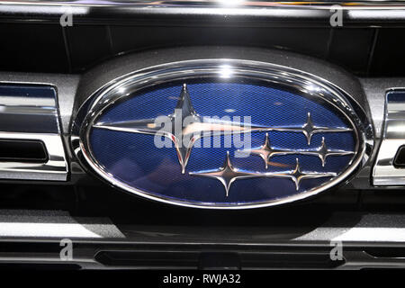 Genf, Switzerland. 06th Mar, 2019. A Subaru logo, taken on the second press day. The 89th Geneva Motor Show starts on 7 March and lasts until 17 March. Credit: Uli Deck/dpa/Alamy Live News - Stock Photo