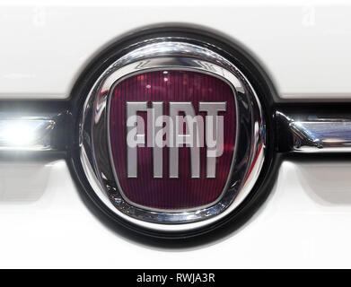 Genf, Switzerland. 06th Mar, 2019. A Fiat logo, taken on the second press day. The 89th Geneva Motor Show starts on 7 March and lasts until 17 March. Credit: Uli Deck/dpa/Alamy Live News - Stock Photo