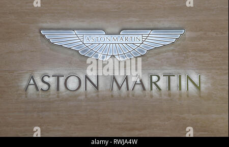 Genf, Switzerland. 06th Mar, 2019. An Aston Martin logo, taken on the second press day. The 89th Geneva Motor Show starts on 7 March and lasts until 17 March. Credit: Uli Deck/dpa/Alamy Live News - Stock Photo
