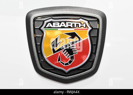Genf, Switzerland. 06th Mar, 2019. An Abarth logo, taken on the second press day. The 89th Geneva Motor Show starts on 7 March and lasts until 17 March. Credit: Uli Deck/dpa/Alamy Live News - Stock Photo