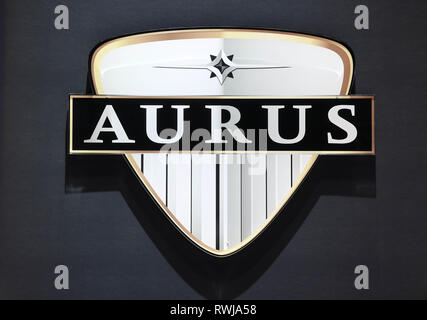 Genf, Switzerland. 06th Mar, 2019. An Aurus logo, taken on the second press day. The 89th Geneva Motor Show starts on 7 March and lasts until 17 March. Credit: Uli Deck/dpa/Alamy Live News - Stock Photo