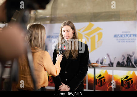 Stockholm, Sweden, March 6, 2019. Grammy-winning Ludwig Goransson receives the Swedish Government's Music Export Prize 2018. The government's Music Export Prize this year goes to the Swedish composer, conductor, and record producer Ludwig Goransson. The prize is awarded every year to someone in the music industry who during the past year has drawn attention to Sweden, and thereby contributed to Swedish exports. Credit: Barbro Bergfeldt/Alamy Live News - Stock Photo