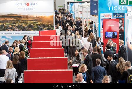 Berlin, Germany. 07th Mar, 2019. Trade visitors walk through Hall 18. Credit: Soeren Stache/dpa/Alamy Live News - Stock Photo