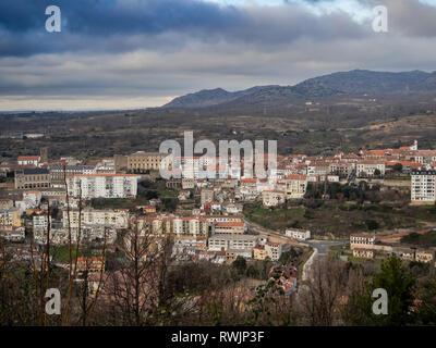 Aerial view of the mountain village Bejar (Salamanca) - Stock Photo