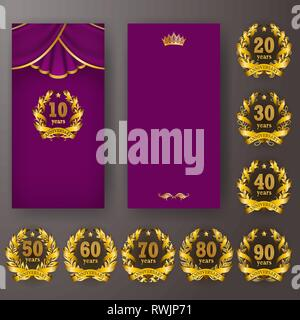 Set of anniversary card, invitation with laurel wreath, numbers. Decorative gold emblem of jubilee on purple background. - Stock Photo