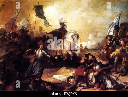 Francis I (born Francois d'Orleans, Cognac, 12 September 1494 - Rambouillet, 31 March 1547) was king of France from 1515 to his death. Here portrayed in battle by a framework - Stock Photo