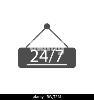 24-7, door shop icon Vector illustration flat - Stock Photo