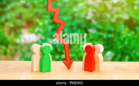 The way of the deal, humility and dialogue. Two groups of people separated by a red arrow. Concept of conflict of interest and confrontation. Deplomic - Stock Photo