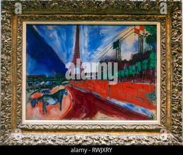 Le Pont de Passy et la Tour Eiffel, Marc Chagall , The Metropolitan Museum of Art, Manhattan, New York USA - Stock Photo