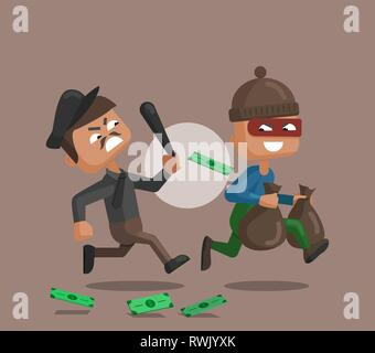 Vector cartoon illustration of a police officer chasing after and trying to catch a masked thief. Illustration in flat style. - Stock Photo