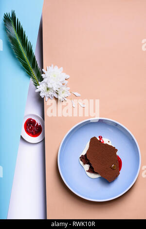 Frozen yogurt or soft ice cream dessert, vanilla ice cream with chocolate brownie. View from above, copy space. - Stock Photo
