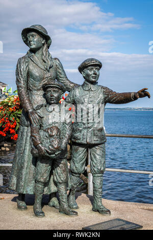 Statue of Annie Moore, the first Irish immigrant to the United States of America; Cobh, County Cork, Ireland