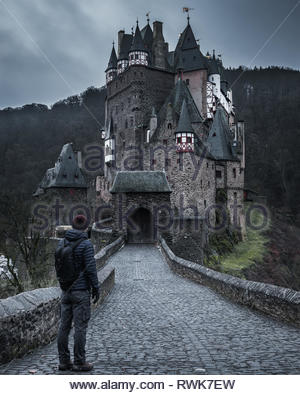 eltz Castle in winter - Stock Photo