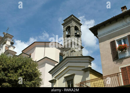 church bell tower in Sarnico, Iseo Lake, Lombardy, Italy - Stock Photo