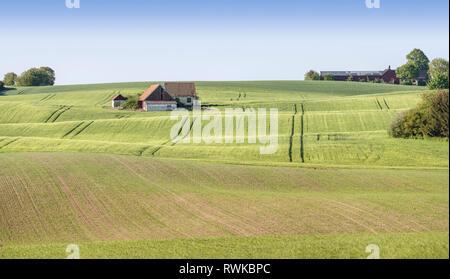 Old farm house at beautiful rural landscape, Skane, Sweden, Scandinavia. - Stock Photo
