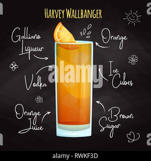 Simple recipe for an alcoholic cocktail Harvey Wallbanger. Drawing chalk on a blackboard. - Stock Photo