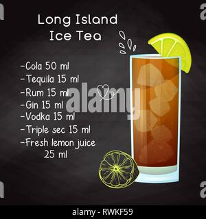 Simple recipe for an alcoholic cocktail Long Island Ice Tea. Drawing chalk on a blackboard. - Stock Photo