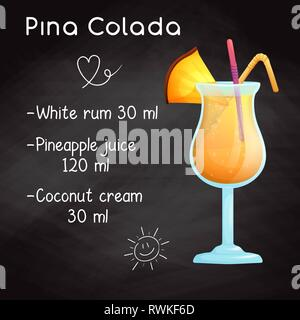 Simple recipe for an alcoholic cocktail Pina Colada. Drawing chalk on a blackboard. - Stock Photo