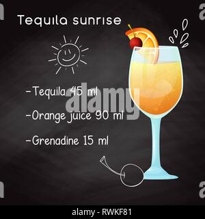 Simple recipe for an alcoholic cocktail Tequila Sunrise. Drawing chalk on a blackboard. - Stock Photo