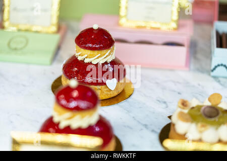 Delicious cakes on a coffee shop.  Sweet. Beautiful. Food styling. - Stock Photo