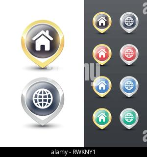 Pointer icons with metallic gold and silver border, map and home symbols inside. Vector location pins isolated on white background. - Stock Photo