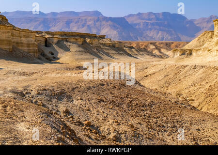 Eroded cliffs made of marl, Dead Sea region, Israel - Stock Photo