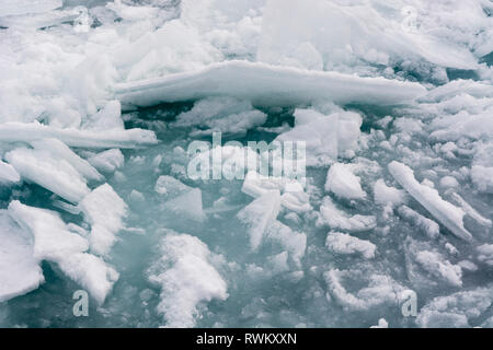 Pack ice, Murchinson Bay, Murchisonfjorden, Nordaustlandet, Svalbard, Norway - Stock Photo