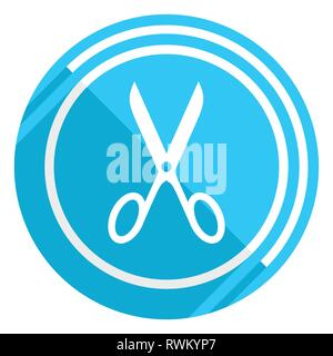 Scissors flat design blue web icon, easy to edit vector illustration for webdesign and mobile applications - Stock Photo