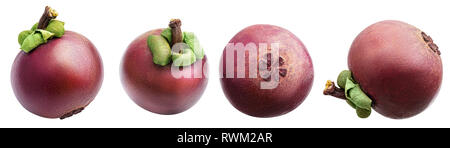 Mangosteens isolated on white background. Clipping path - Stock Photo