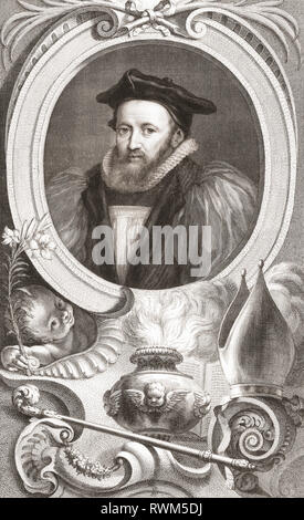 George Abbot, 1562 - 1633.  Archbishop of Canterbury. From the 1813 edition of The Heads of Illustrious Persons of Great Britain, Engraved by Mr. Houbraken and Mr. Vertue With Their Lives and Characters. - Stock Photo