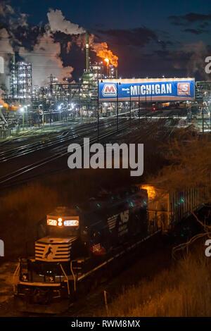 Detroit, Michigan - The Marathon Petroleum Refinery and a Norfolk Southern Railway locomotive.