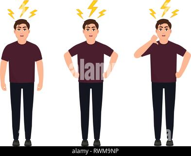 Angry man raised fist and shout or screaming expression. Man expresses negative emotions and feelings, shouts loudly and desperately. Human emotion an - Stock Photo