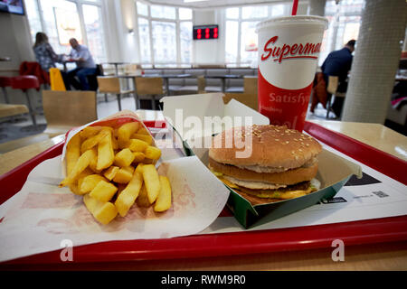 supermacs irish fast food burger chain mighty mac meal with fries and drink in their oconnell street store Dublin republic of Ireland - Stock Photo