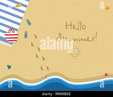 Hello Summer Square Banner. Top View of Sunny Beach. Summertime Vacation Background. Towel, Bag, Slippers. Footprints and Hand Drawn Sun on Gold Sand. - Stock Photo