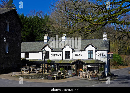 Queen's Head Hotel. Troutbeck, Windermere, Lake District National Park, Cumbria, England, United Kingdom, Europe. - Stock Photo