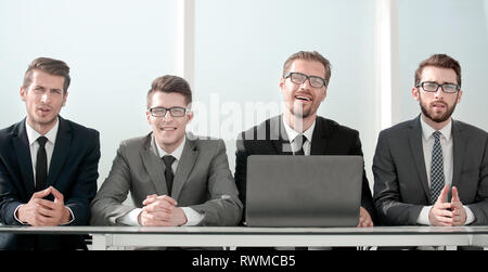 group of business people sitting at the Desk. - Stock Photo