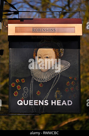 Inn sign. Queen's Head Hotel. Troutbeck, Windermere, Lake District National Park, Cumbria, England, United Kingdom, Europe. - Stock Photo