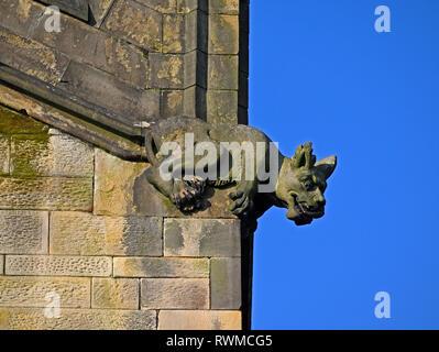 False Gargoyle or Grotesque. Holy Trinity, Kendal Parish Church. Kirkland, Kendal, Cumbria, England, United Kingdom, Europe. - Stock Photo