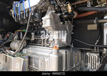 Internal structure of a large industrial air conditioning and ventilation system, pump compressor for evaporator - Stock Photo