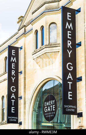 Signs at the High Street entrance to the EMERY GATE shopping centre in Chippenham Wiltshire England UK - Stock Photo