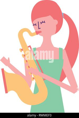young woman playing saxophone - Stock Photo