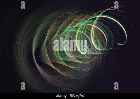 3D illustration. Colored lines in spiral motion. Abstract concept image, artistic colorful background. - Stock Photo